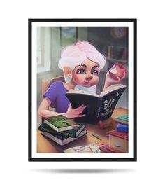 Deep reading, Portrait, Books lovers, Fine Art Print, Matte, digital illustration Portrait, Reading, Book Lovers, Fine Art Prints, My Arts, Deep, Baseball Cards, Paper, Illustration