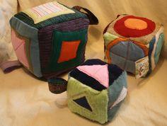 Fabric baby blocks, set of three eco friendly, educational, Upcycled Waldorf Inspired- Made to order. $45.00, via Etsy.