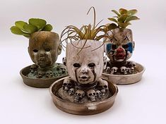 We decided to convert a few of our Doll Head Candle Holders into Doll Head Planters. They turned out to be so popular we made matching saucers for them. Creepy Baby Dolls, Creepy Clown, Halloween Crafts, Halloween Decorations, Small Cactus, Head Planters, Clown Faces, Bizarre, Baby Head