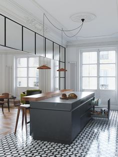 Modern kitchen with classic architectural details, printed tile floors, and rose gold pendant lights New Kitchen, Kitchen Interior, Kitchen Dining, Kitchen Decor, Kitchen Ideas, Kitchen Black, Dining Room, Apartment Kitchen, Kitchen Trends