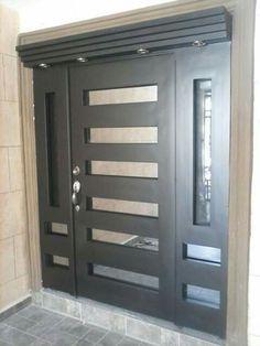 ~ puertas de forja y contemporaneas pasamanos escaleras y herreria en Door Gate Design, Main Door Design, Front Door Design, Modern Entry Door, Double Front Doors, Aluminium Doors, Iron Doors, Steel Doors, Entrance Doors