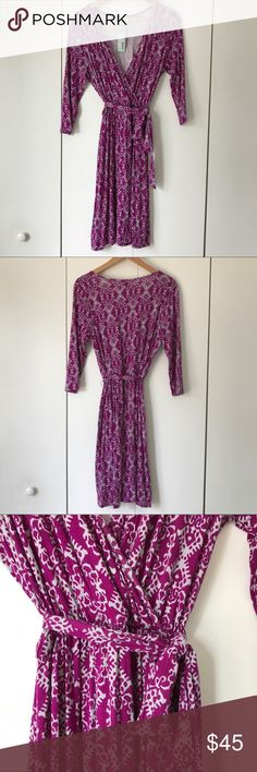 """Stitch Fix Pixley Dexter Faux Wrap Dress Purple M New with tags purple and gray Dexter faux wrap dress from Stitch Fix's Pixley. Soft and stretchy material. Three quarter sleeves. Elastic waistband with decorative tie around waist. 36"""" from top of shoulder to bottom of hem. 17.5"""" long sleeves. 17"""" from armpit to armpit. Pixley Dresses Midi"""