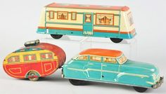 Lot of 2: Tin Litho Car & Trailer Toys.