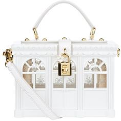Dolce & Gabbana Greenhouse Padlock Top Handle Bag (9,050 CAD) ❤ liked on Polyvore featuring bags, handbags, clear handbags, structured handbags, clear purse, clear handle bags and vintage handbags