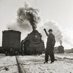 Freight train operations on the Chicago and Northwestern Railroad between Chicago and Clinton, Iowa, Jan 1943. Copy of photo by Jack Delano