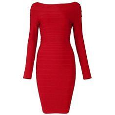 Boatneck Red Bandage Dress