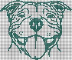 Alpha friendship bracelet pattern added by staffordshire bull terrier dog face. Cross Stitch Love, Cross Stitch Animals, Cross Stitch Charts, Cross Stitch Patterns, C2c Crochet Blanket, Tapestry Crochet, Crochet Chart, Cross Stitching, Cross Stitch Embroidery