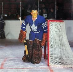 From the book, The Game We Knew: Hockey In The Sixties. Hockey, Goalie Mask, Toronto Maple Leafs, Sports Pictures, Nhl, Costumes, Baseball Cards, Game, Book