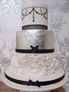 Silver Leaf Ruffle Cake