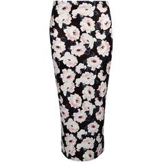 Boohoo Orla Floral Print Scuba Midi Skirt