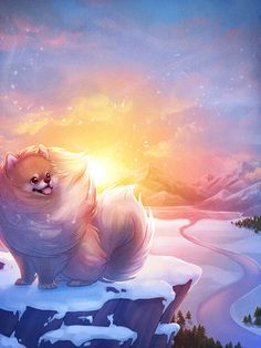 Pomeranian: Tiny Dog Big Spirit Art Signed Digital by chelseakenna