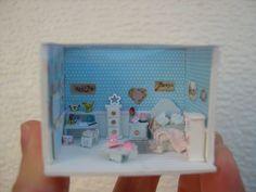 Casa de muñecas--miniaturas--escena escala 1/144--habitación dormitorio shabby azul de Cantimpalominiaturas en Etsy