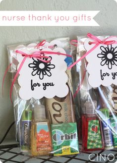 Chocolate bar, chap stick, gum, and hand sanitizer put together as a quick thank you gift for anyone!