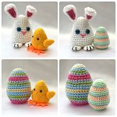 Crochet these fun Easter Egg decorations with a twist, flip them inside out to reveal a super cute Chick or Bunny!