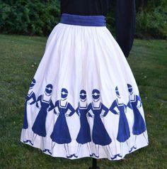 40s/50s mid century novelty nautical sailor skirt cotton