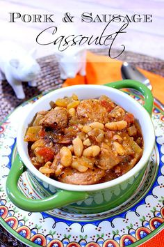 This hearty and delicious Pork and Sausage Cassoulet is comfort food at it's finest. - Kudos Kitchen by Renee