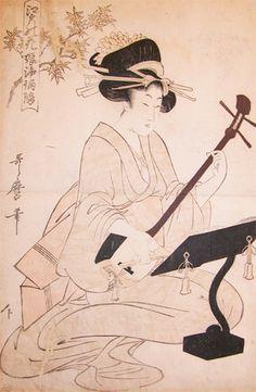 utamaro kitagawa | Kitagawa Utamaro: Playing Samisen - Ronin Gallery - Ukiyo-e Search