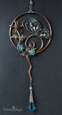 Butterfly Suncatcher with Gemstones and Crystal