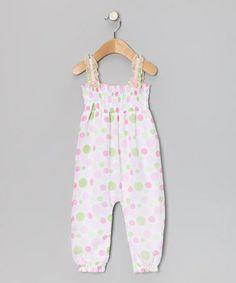 Look at this #zulilyfind! White Polka Dot Playsuit - Infant #zulilyfinds