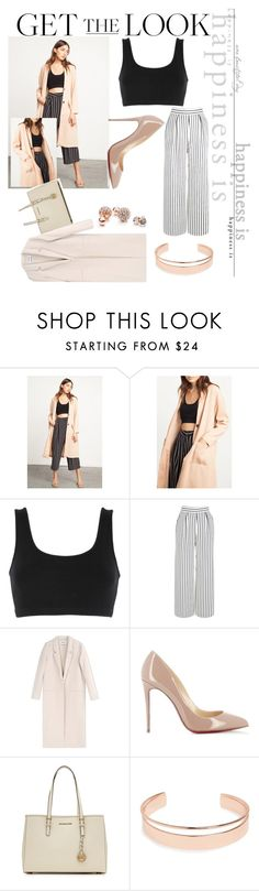 """""""Apricot Love"""" by starbucks-cake ❤ liked on Polyvore featuring adidas Originals, Warehouse, Acne Studios, Christian Louboutin, MICHAEL Michael Kors, Leith and GUESS"""