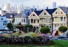 Casas victorianas Painted ladies en Alamo Park en San Francisco