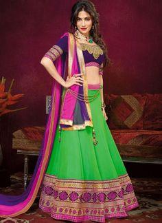 Chitrangada Singh Parrot Green And Purple Designer Lehenga Choli http://www.angelnx.com/Lehenga-Choli
