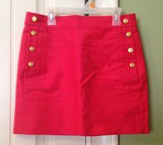 NWOT  J.Crew 4 pocket Pencil Skirt in Red Size OO #JCrew #StraightPencil