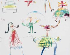 This cotton print, designed by Gaël Davrinche, a contemporary artist who strives to evoke the innocence of childhood in his creations, consists of multiple roughly sketched multi-coloured figures. Matching wallpaper also available. Trimmed.