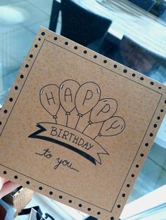 Super Birthday Card Drawing Gift Wrapping Ideas – The Best Ideas Simple Birthday Cards, Bday Cards, Happy Birthday Card Diy, Friend Birthday Card, Happy Birthday Hand Lettering, Happy Birthday Calligraphy, Free Birthday, Birthday Presents, Handmade Birthday Gifts