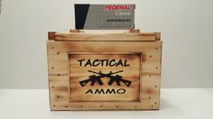 Handcrafted Wooden ammo box,made to look like the old military style ammo boxes. Has wood handles, Removal-able top, Tactical Ammo etched on a wooden plaque on front and Tactical Ammo Decal on top.  Size 11.5 x 7.25 x 8.5.  Keep several boxes of your favorite Tactical ammo in this old looking military style wood ammo box, or use it to keep all your favorite keepsakes in. Makes a great gift for that hard to buy for person.  All wood ammo boxes are ready for shipping. Also adds a great center…