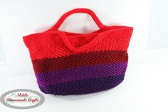 """This Multipurpose Crochet Bag can be used for so many different things. I use it for yarn, but feel free to use it for wine bottles. :-) I used 4 different colors of Caron One Pound yarn. I love the look of it."""
