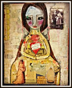 collage painting, Available Face Art, Fleas, Painting Inspiration, Thrifting, Artsy, Artwork, Mixed Media, Collage, Style