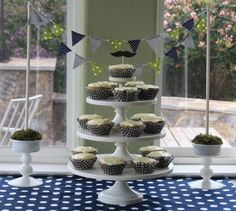 cute baby shower (love the navy & green color scheme)