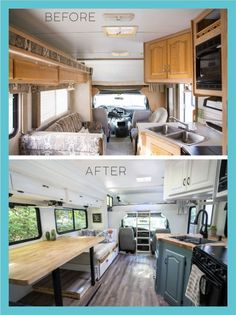 rv makeover pictures homes rv living Travel Trailer Remodel Before and After (Costs Caravan Renovation Before And After, Camper Renovation, Home Renovation, Home Remodeling, Architecture Renovation, Interior Motorhome, Camper Diy, Travel Trailer Remodel, How To Remodel A Camper