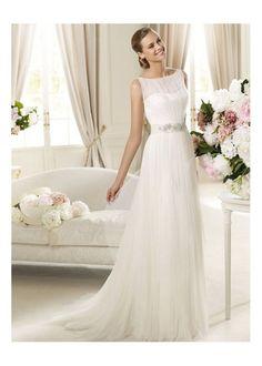 Scoop Chiffon Fabric Sheath Wedding Dress