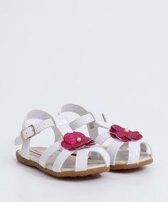Sandália para Bebê Batizado Verniz Branca Pimpolho