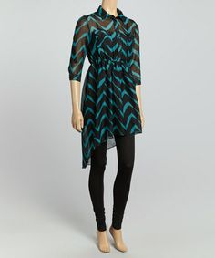 Teal & Black Zigzag Shirt Dress #zulily #zulilyfinds Wish this could be in my closet for a wedding this weekend.