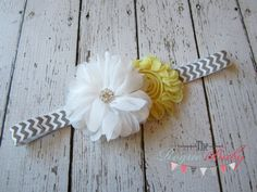 Chevron Headband  Gray Yellow & White with Metal by TheRogueBaby, $7.95