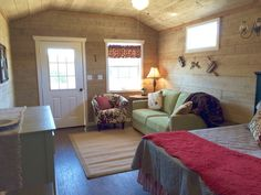 Our hill country cabin: Live Oak Lodge at The Alexander at Creek Road.  Cabin rental with cushy King bed, living area and queen sofa-bed.  300 square foot cabin still plenty of room for stone shower, coffee bar and more.