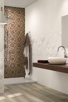 Carrelage : donnez du relief à la salle de bains Terrazzo, Minimalist Bathroom, Relief, Toilet, Bathtub, Shower, Design Bathroom, Bathroom Ideas, Wall
