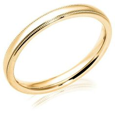 Women's 14k Yellow Gold 3mm Comfort Fit Milgrain Plain Wedding Band Amazon Curated Collection. $222.61. Made in the USA