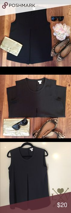 J. Crew black top Beautiful structured top/ ready for work or wear with jeans on the weekend/ very chic look/ in great condition/ remember to bundle and save!! J. Crew Tops Tank Tops