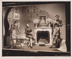 ", Fifth Avenue, New York, ""Come on in and sit around the fire place with a number of colorfull characters"", pinned by Ton van der Veer Vintage Store Displays, Store Window Displays, Vintage Display, Display Windows, Mannequin Christmas Tree, Fashion Window Display, Clothing Store Design, Vintage Mannequin, Guys And Dolls"
