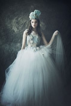 Beyond lovely - light blue tulle dress? Yes please!   And that head piece, - love!