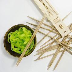 Chopsticks PLAY BEFORE EATING. Designed by Julie Gaillard. Available on www.darwinshome.com