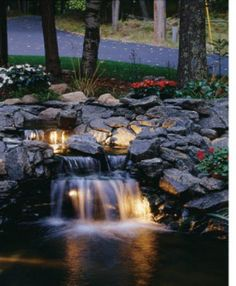 backyard small pond | Lighted koi pond waterfall