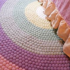 Pastel Rainbow Felt Ball Rug – The Slumber Co | Store