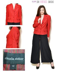 Linen Blazer women button down jacket vintage 90s clothing red blazer womens clothing suit jacket office clothes Size XL by SixVintageChicks on Etsy