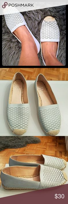 Vince Camuto Leather Espadrille Flats Vince Camuto Leather Espadrille flat slides. Driston mint green size 6.5M. Disti perforated comfortable summer flats.  .5' heel. round toe with woven tip slip on. leather upper, jute and rubber sole.  gently used. Vince Camuto Shoes Espadrilles