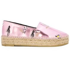 Kenzo Cactus Espadrilles ($148) ❤ liked on Polyvore featuring shoes, sandals, metallic flat sandals, pink sandals, patent leather sandals, metallic shoes and braided sandals